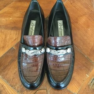 Brighton Croc Embossed Leather Black & Brown 10